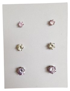 Lord & Taylor Set of Three CZ studs in Assorted Colors