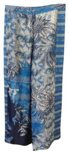 Elie Tahari Pajama Silk Pattern Draw-string Relaxed Pants Patterned Blue