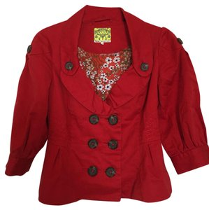 Anthropologie Double-breasted Red Jacket