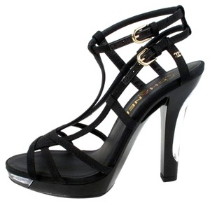 Chanel Clear Cage Strappy Sandals Black Pumps