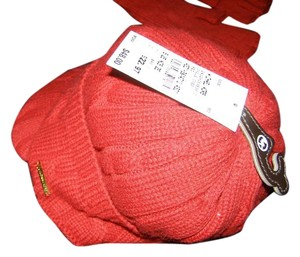 Michael Kors Red Finger Holes Gloves and Hat Cableknit