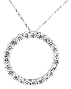 14K White Gold 2.98Ct Diamond Large Circle Pendant Necklace 16