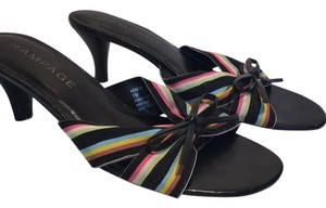 Rampage black with colored ribbon Sandals