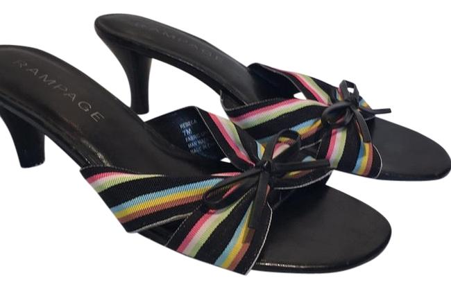 Item - Black with Colored Ribbon Sandals Size US 7 Regular (M, B)