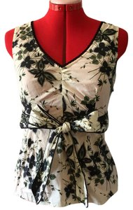 Anthropologie Floral Vintage-inspired Sleeveless V-neck Top ivory