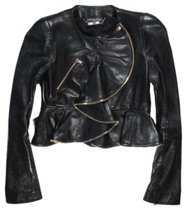 Alexander McQueen Leather Motorcycle Zipper Leather Jacket
