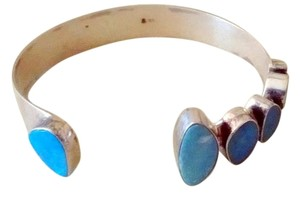 Contemporary Six Fire Opals and 925 Silver cuff bracelet