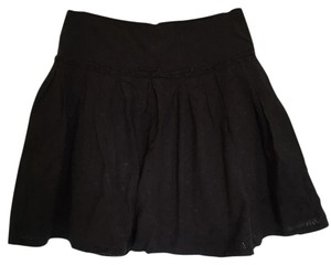 Anthropologie Eyelet Summer Drop Waist Mini Skirt Black