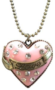 Betsey Johnson Pink Heart Dollhouse Betsey Johnson Locket Necklace Crystals Ring