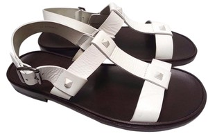 Valentino Leather Flat Studded Detail Buckle Closure White Sandals