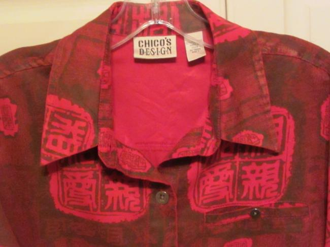 Chico's Top red with print