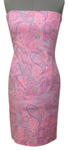 Jones New York short dress Light pink ,lavender ,turquoise Floral Paisley on Tradesy