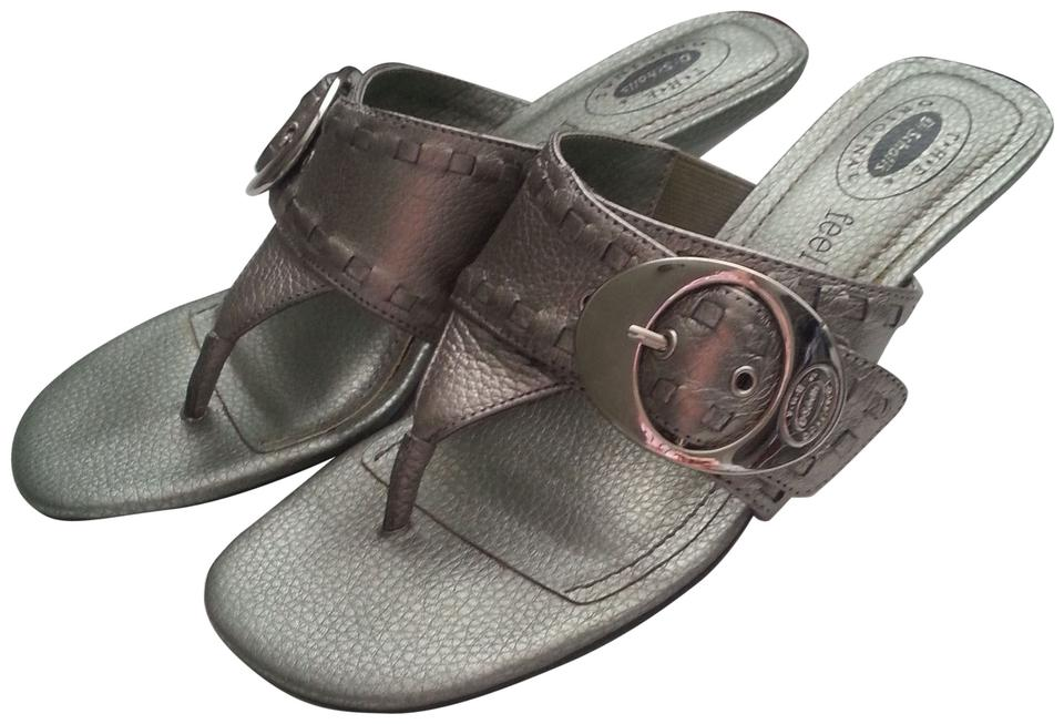 1b9dd2d8fc01 Dr. Scholl s Chunky Arch Support Kitten Heel Low Heel Heeled Buckle Thick Silver  Sandals Image ...