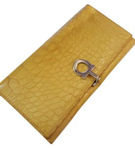 Salvatore Ferragamo Rare Croc Embossed Yellow Gancini Leather