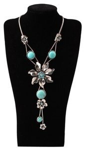 Necklace with Flower Pendant and Turquoise Blue Stones on Cord Chain