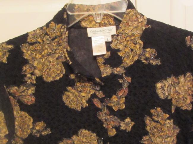 Coldwater Creek Top black with multi print
