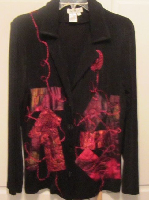 Coldwater Creek black with red embroidery Jacket