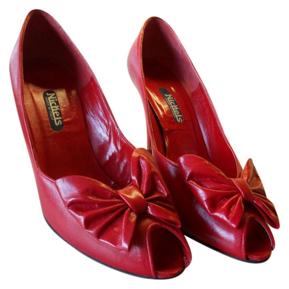 811ec96cc27 Nickels All Leather Unique Style Italian Made Quality RED Pumps Image 0 ...