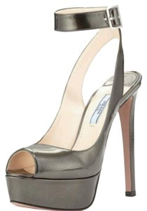 Prada Platform Metallic ANTHRACITE - Dark Silver/Gray Pumps