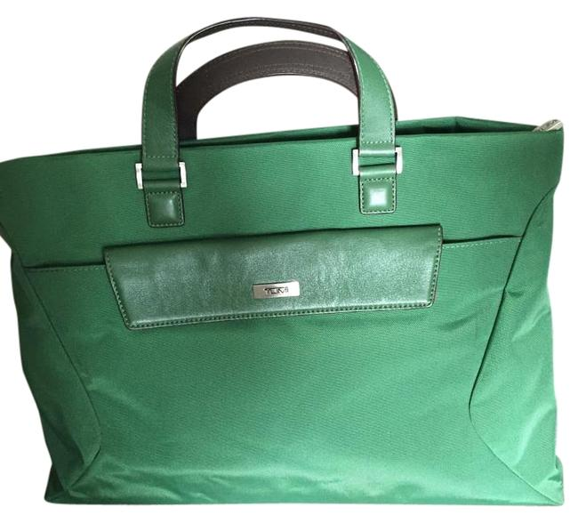 Item - W Small Bag/Briefcase W/ Pouch Green with Pink Interior Canvas Leather Embellishments Laptop Bag
