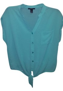 Forever 21 Button Down Blouse Button Down Shirt turquois