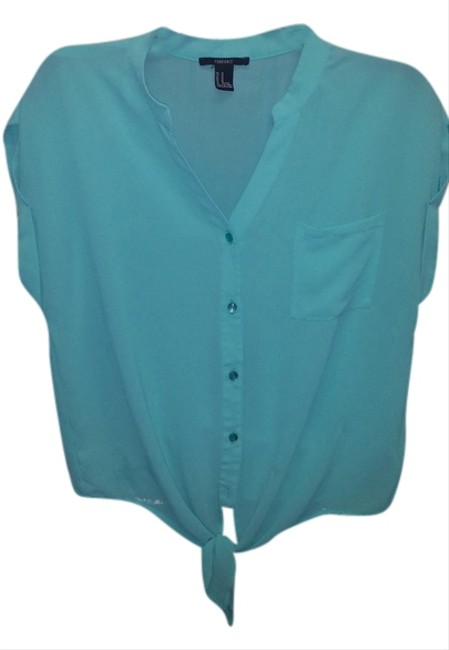 Forever 21 Blouse Work Casual 21 Button Down Shirt turquois
