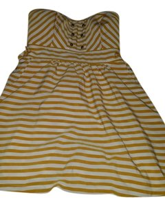 Forever 21 short dress yellow and cream Sailor Gold Striped on Tradesy