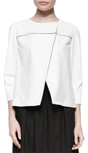 Lafayette 148 New York Leather Open White Leather Jacket