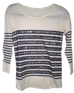 J.Crew Sequins Striped Long Sleeve T Shirt White