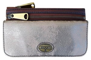 Fossil Metallic Brown Leather Wallet Brown/Bronze Clutch