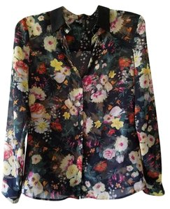 Mango #buttondown Top Navy Floral