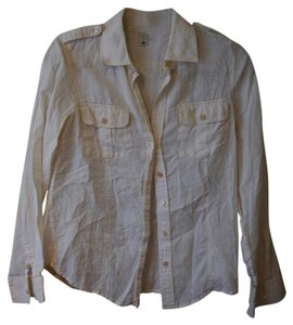 Banana Republic Linen Button Down Shirt Cream
