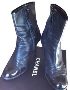 Chanel Patent Leather Leather Cc Logo Stacked Wood Heel Inside Zipper Black Boots