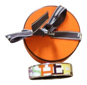 Hermes White and multicolor Herms Wide Enamel Bracelet with logo motif