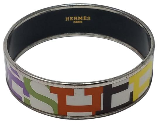 Hermes White multicolor Herms Wide Enamel Bracelet with logo motif Image 0