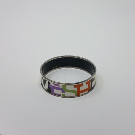 Hermes White multicolor Herms Wide Enamel Bracelet with logo motif Image 2