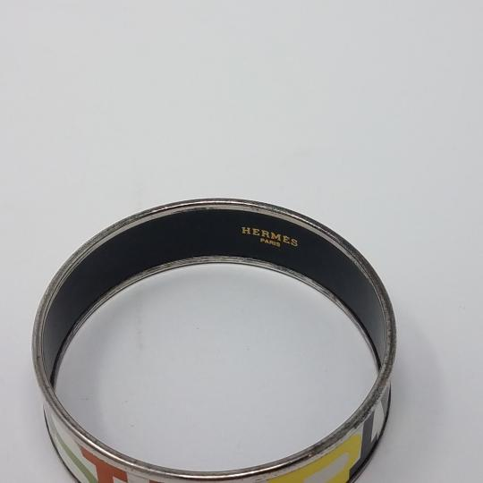 Hermes White multicolor Herms Wide Enamel Bracelet with logo motif Image 5