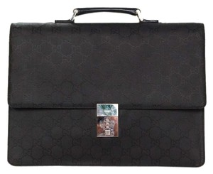 Gucci Monogram Attache Silver Hardware Briefcase Laptop Bag
