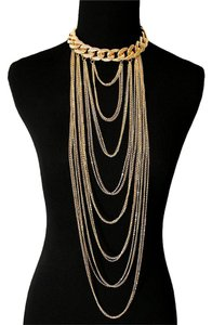 Multilayered Draped Gold Chain Choker Necklace And Earrings