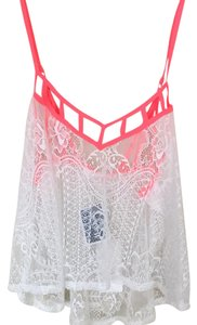 Lush Top White and neon pink