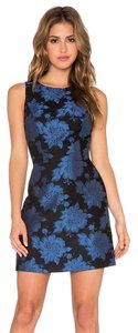 Alice + Olivia Brocade Blue Navy Black Floral Dress