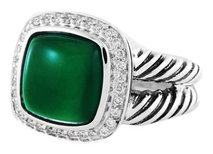 David Yurman Albion Ring with Cabochon Green Onyx and Diamonds