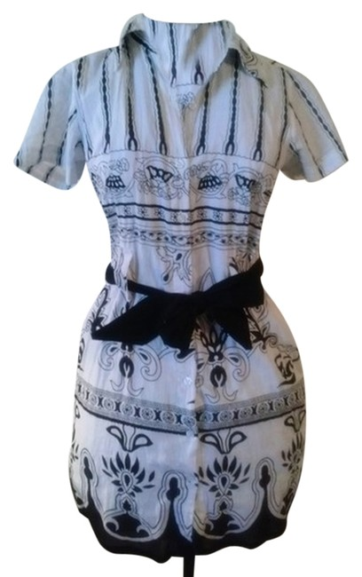 Item - Black White Fine Cotton Belted (8-10) Above Knee Short Casual Dress Size 8 (M)