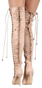 Fall Over The Knee Boot Nude Boots