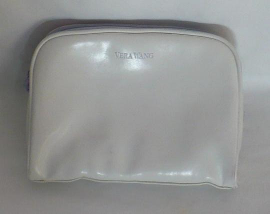 Vera Wang Lavender Label Faux Leather White Cosmetic Bag