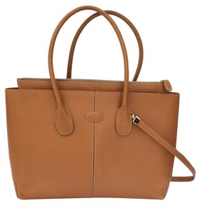 Tod's Vintage Leather Preppy Camel Satchel in Tan