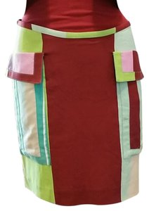 Versace Color-blocking Skirt Red, green, pink