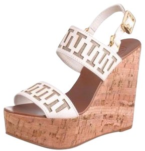 Tory Burch White brown tan Wedges