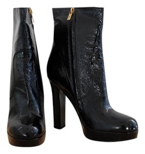 Saint Laurent Patent Leather Side Zip Platform Black Boots
