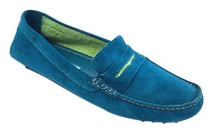 Manolo Blahnik Loafer Suede Turquoise Flats
